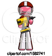 Pink Football Player Man Holding Large Drill