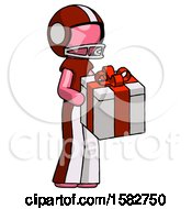 Pink Football Player Man Giving A Present