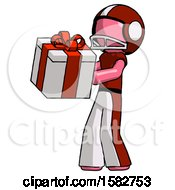 Pink Football Player Man Presenting A Present With Large Red Bow On It