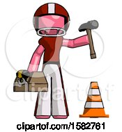 Pink Football Player Man Under Construction Concept Traffic Cone And Tools