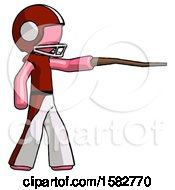 Pink Football Player Man Pointing With Hiking Stick