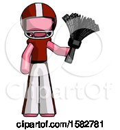 Pink Football Player Man Holding Feather Duster Facing Forward