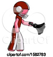 Pink Football Player Man Dusting With Feather Duster Downwards