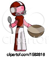 Pink Football Player Man With Empty Bowl And Spoon Ready To Make Something