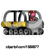 Pink Football Player Man Driving Amphibious Tracked Vehicle Side Angle View