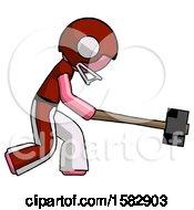 Pink Football Player Man Hitting With Sledgehammer Or Smashing Something