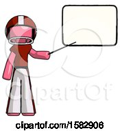 Pink Football Player Man Giving Presentation In Front Of Dry Erase Board
