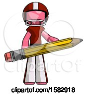 Pink Football Player Man Writer Or Blogger Holding Large Pencil