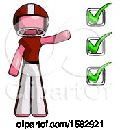 Pink Football Player Man Standing By List Of Checkmarks