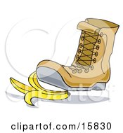 Boot Stepping On A Banana Peel Clipart Illustration