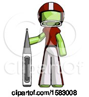 Green Football Player Man Standing With Large Thermometer