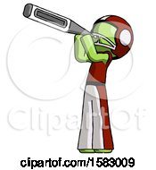 Green Football Player Man Thermometer In Mouth