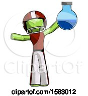 Green Football Player Man Holding Large Round Flask Or Beaker