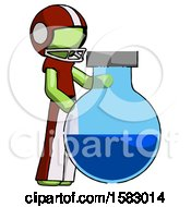 Green Football Player Man Standing Beside Large Round Flask Or Beaker