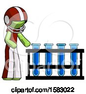 Green Football Player Man Using Test Tubes Or Vials On Rack