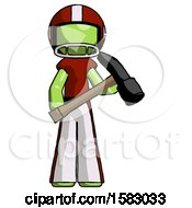 Green Football Player Man Holding Hammer Ready To Work