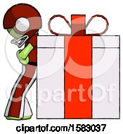 Green Football Player Man Gift Concept Leaning Against Large Present