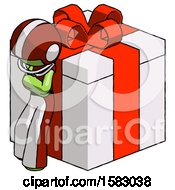 Green Football Player Man Leaning On Gift With Red Bow Angle View