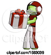 Green Football Player Man Presenting A Present With Large Red Bow On It