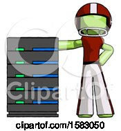 Green Football Player Man With Server Rack Leaning Confidently Against It