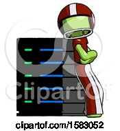 Green Football Player Man Resting Against Server Rack Viewed At Angle