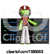 Green Football Player Man With Server Racks In Front Of Two Networked Systems