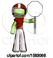 Green Football Player Man Holding Stop Sign