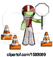 Green Football Player Man Holding Stop Sign By Traffic Cones Under Construction Concept