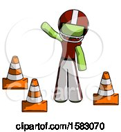 Green Football Player Man Standing By Traffic Cones Waving