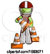 Green Football Player Man Holding A Traffic Cone