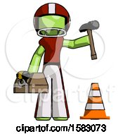 Green Football Player Man Under Construction Concept Traffic Cone And Tools