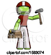 Green Football Player Man Holding Tools And Toolchest Ready To Work