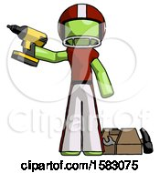 Green Football Player Man Holding Drill Ready To Work Toolchest And Tools To Right