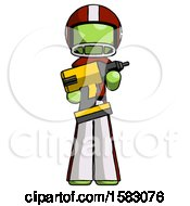 Green Football Player Man Holding Large Drill