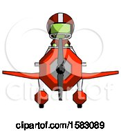 Green Football Player Man In Geebee Stunt Plane Front View