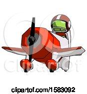Green Football Player Man Flying In Geebee Stunt Plane Viewed From Below