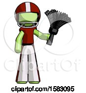 Green Football Player Man Holding Feather Duster Facing Forward