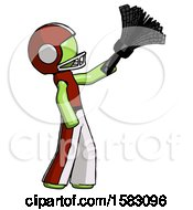 Green Football Player Man Dusting With Feather Duster Upwards