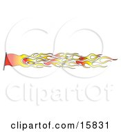 Red And Orange Flag Made Of Fire Clipart Illustration