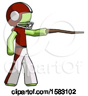 Green Football Player Man Pointing With Hiking Stick
