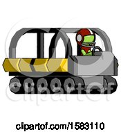 Green Football Player Man Driving Amphibious Tracked Vehicle Side Angle View