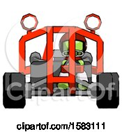 Green Football Player Man Riding Sports Buggy Front View