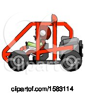 Green Football Player Man Riding Sports Buggy Side View