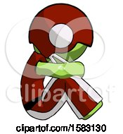 Green Football Player Man Sitting With Head Down Facing Sideways Right