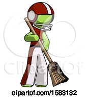 Green Football Player Man Sweeping Area With Broom