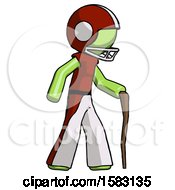 Green Football Player Man Walking With Hiking Stick