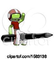 Green Football Player Man Riding A Pen Like A Giant Rocket