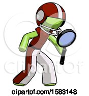 Green Football Player Man Inspecting With Large Magnifying Glass Right