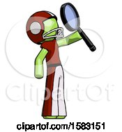 Green Football Player Man Inspecting With Large Magnifying Glass Facing Up
