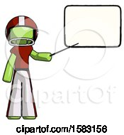 Green Football Player Man Giving Presentation In Front Of Dry Erase Board